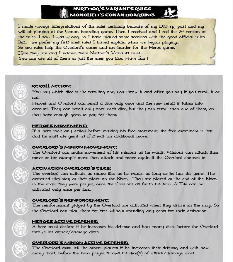 NURTHOR'S VARIANTS RULES